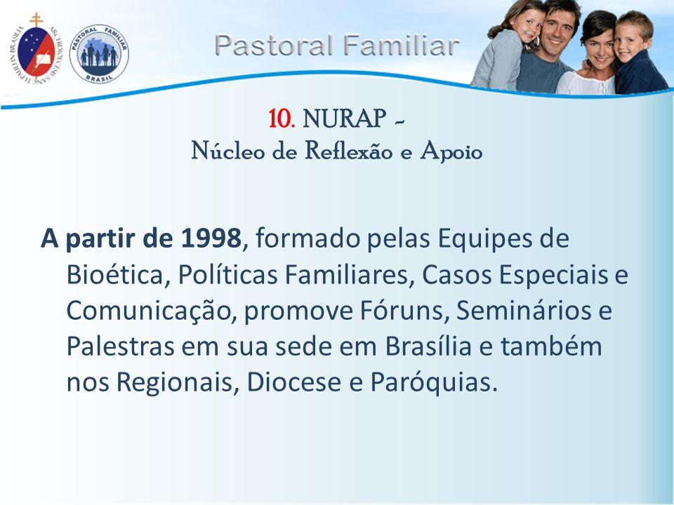 10. NURAP - Núcleo de Reflexão e Apoio A partir de 1998, formado pelas Equipes de Bioética, Políticas Familiares, Casos Especiais e Comunicação, promo