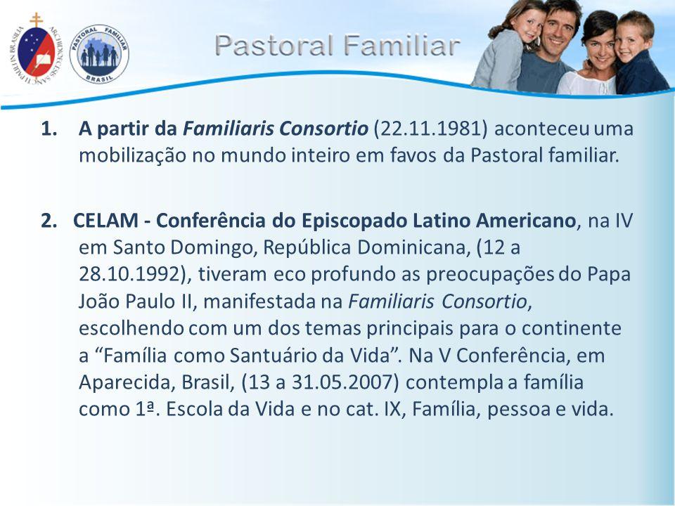 1.A partir da Familiaris Consortio (22.11.1981) aconteceu uma mobilização no mundo inteiro em favos da Pastoral familiar. 2. CELAM - Conferência do Ep