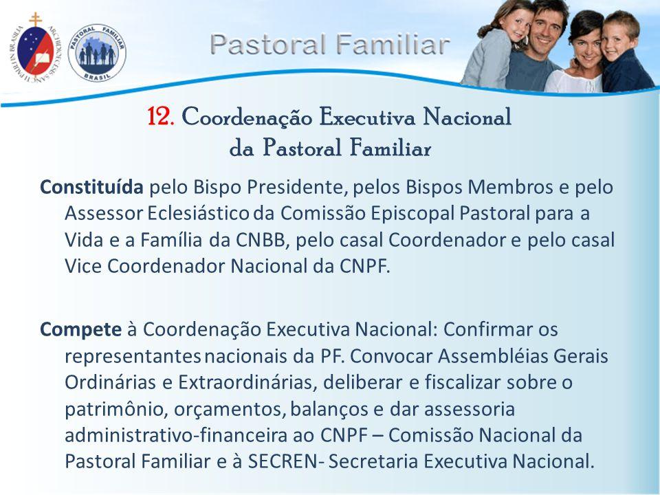 12. Coordenação Executiva Nacional da Pastoral Familiar Constituída pelo Bispo Presidente, pelos Bispos Membros e pelo Assessor Eclesiástico da Comiss