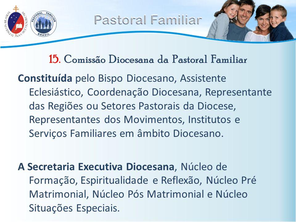 15. Comissão Diocesana da Pastoral Familiar Constituída pelo Bispo Diocesano, Assistente Eclesiástico, Coordenação Diocesana, Representante das Regiõe