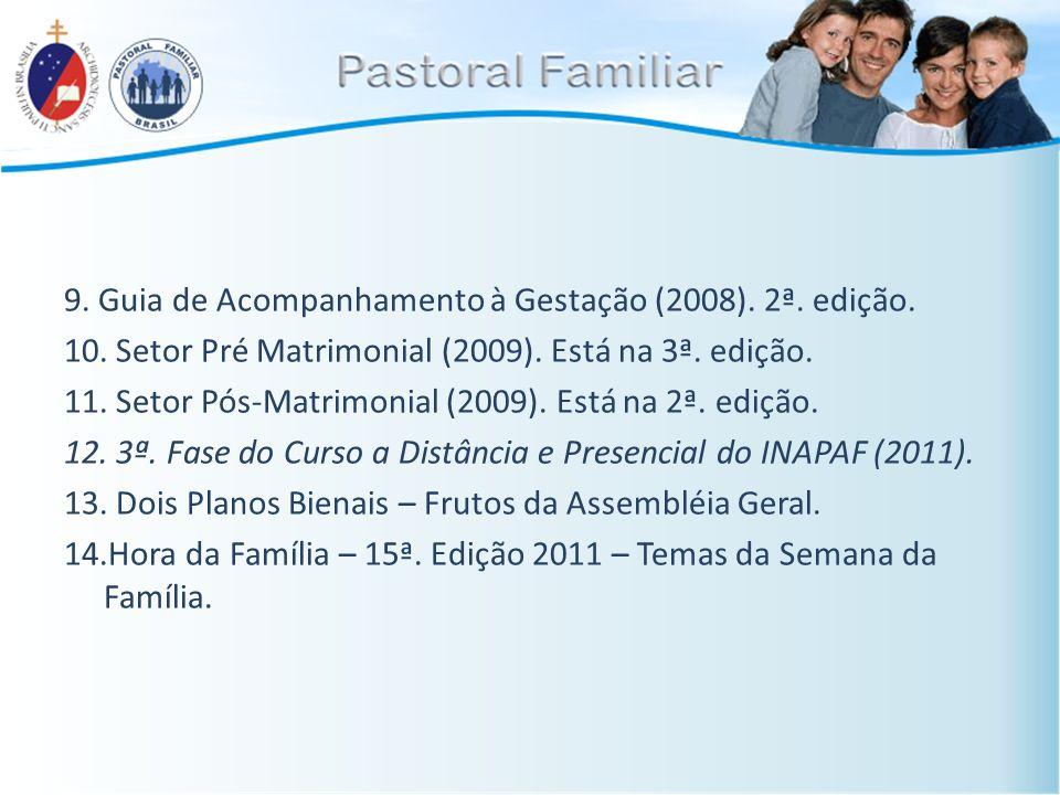 9. Guia de Acompanhamento à Gestação (2008). 2ª. edição. 10. Setor Pré Matrimonial (2009). Está na 3ª. edição. 11. Setor Pós-Matrimonial (2009). Está