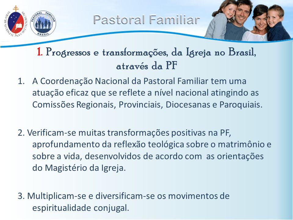 1. Progressos e transformações, da Igreja no Brasil, através da PF 1.A Coordenação Nacional da Pastoral Familiar tem uma atuação eficaz que se reflete