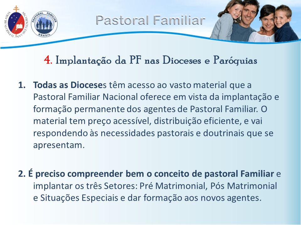 4. Implantação da PF nas Dioceses e Paróquias 1.Todas as Dioceses têm acesso ao vasto material que a Pastoral Familiar Nacional oferece em vista da im