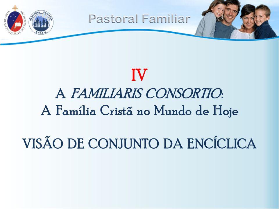 IV A FAMILIARIS CONSORTIO : A Família Cristã no Mundo de Hoje VISÃO DE CONJUNTO DA ENCÍCLICA