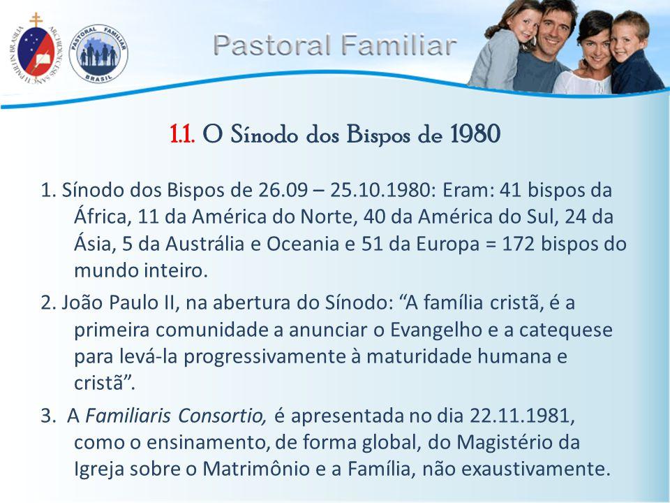 1.1. O Sínodo dos Bispos de 1980 1. Sínodo dos Bispos de 26.09 – 25.10.1980: Eram: 41 bispos da África, 11 da América do Norte, 40 da América do Sul,