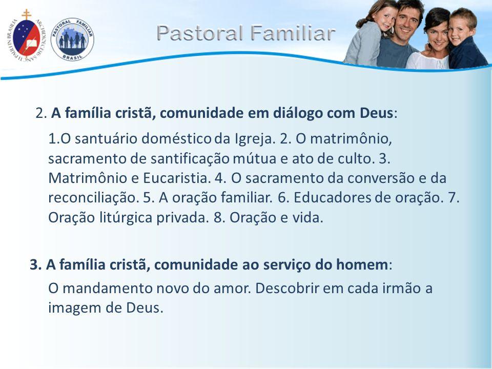 2. A família cristã, comunidade em diálogo com Deus: 1.O santuário doméstico da Igreja. 2. O matrimônio, sacramento de santificação mútua e ato de cul