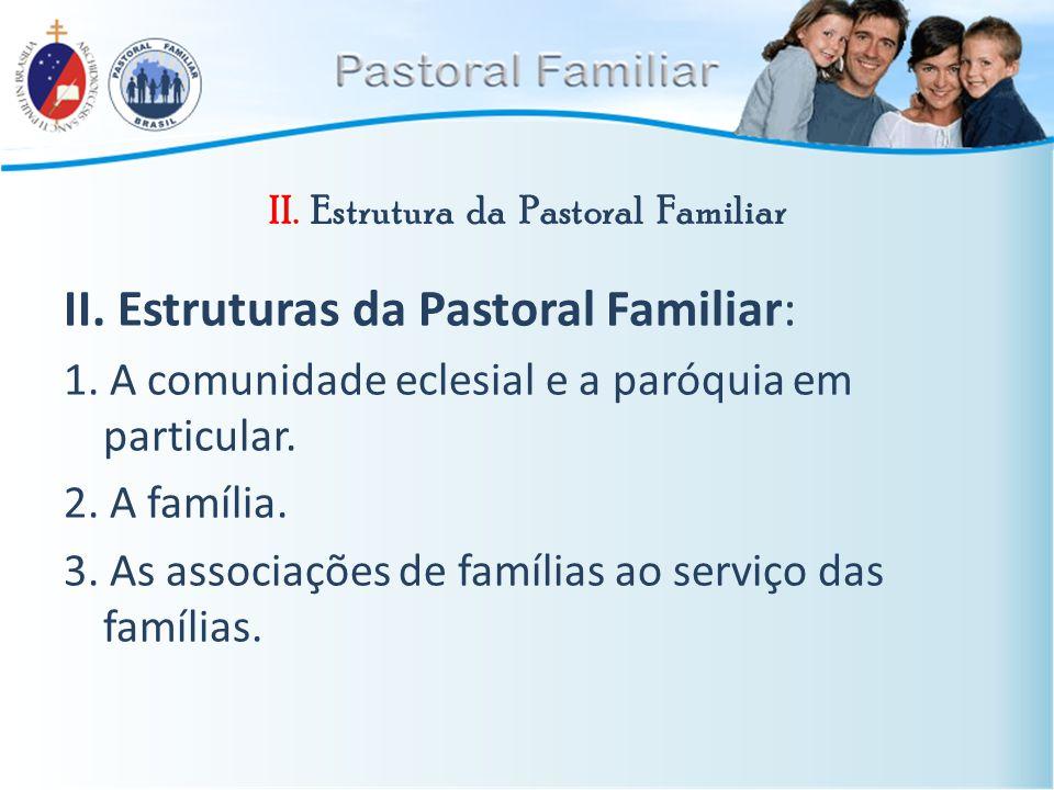 II. Estrutura da Pastoral Familiar II. Estruturas da Pastoral Familiar: 1. A comunidade eclesial e a paróquia em particular. 2. A família. 3. As assoc