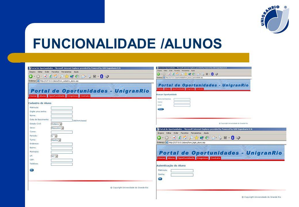 FUNCIONALIDADE /ALUNOS