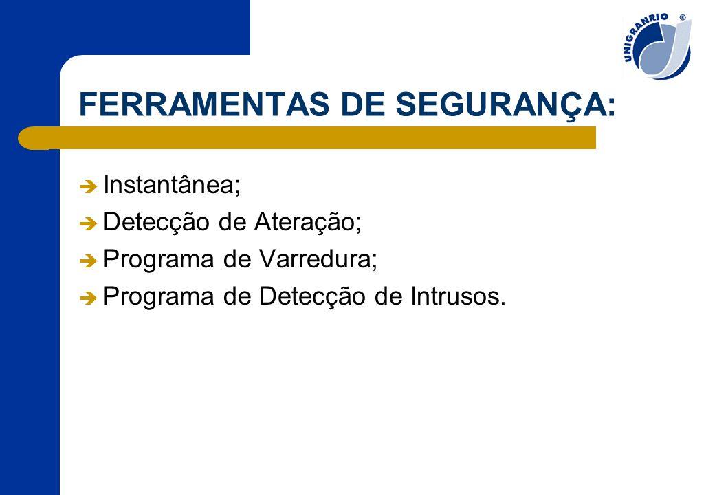 FERRAMENTAS DE SEGURANÇA:  Instantânea;  Detecção de Ateração;  Programa de Varredura;  Programa de Detecção de Intrusos.