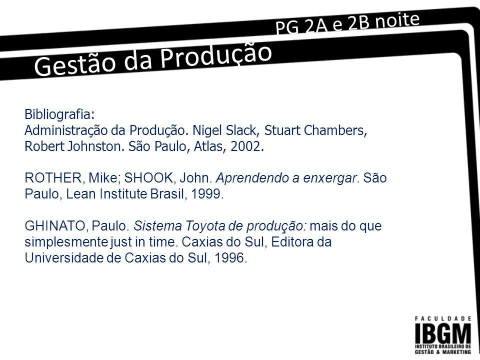 Gestão da Produção PG 2A e 2B noite Bibliografia: Administração da Produção.