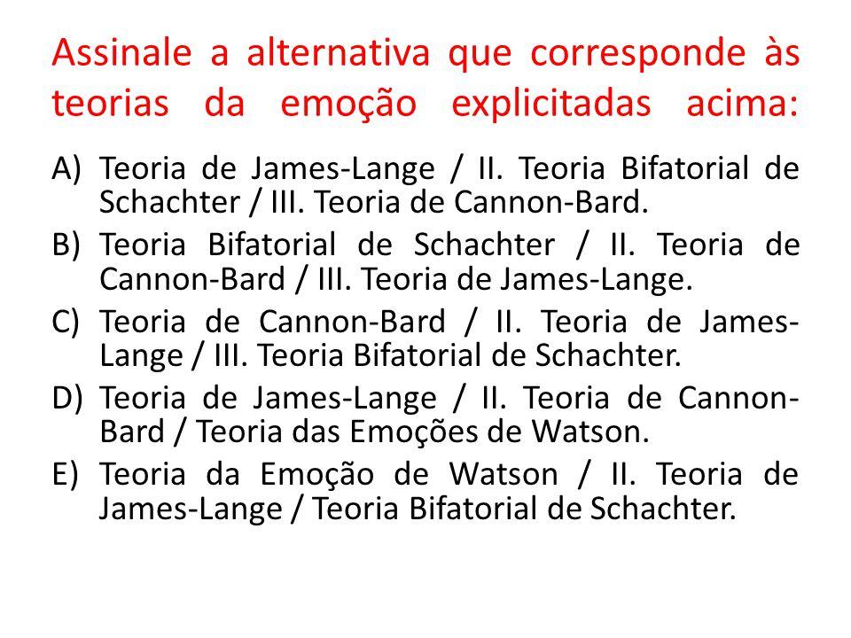 Assinale a alternativa que corresponde às teorias da emoção explicitadas acima: A)Teoria de James-Lange / II. Teoria Bifatorial de Schachter / III. Te