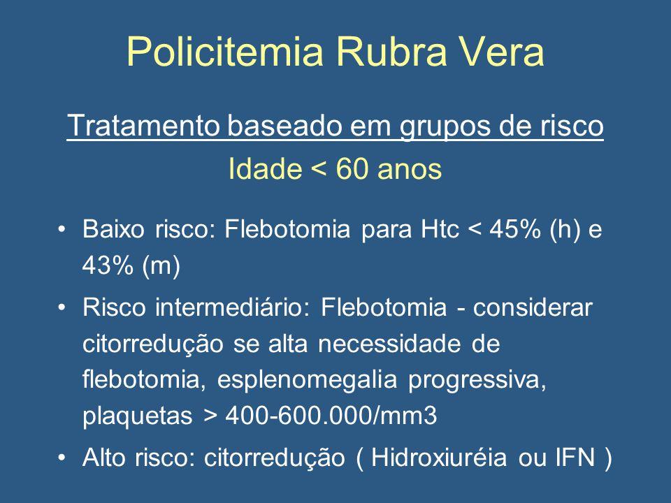Policitemia Rubra Vera Tratamento baseado em grupos de risco Idade < 60 anos Baixo risco: Flebotomia para Htc < 45% (h) e 43% (m) Risco intermediário: Flebotomia - considerar citorredução se alta necessidade de flebotomia, esplenomegalia progressiva, plaquetas > 400-600.000/mm3 Alto risco: citorredução ( Hidroxiuréia ou IFN )