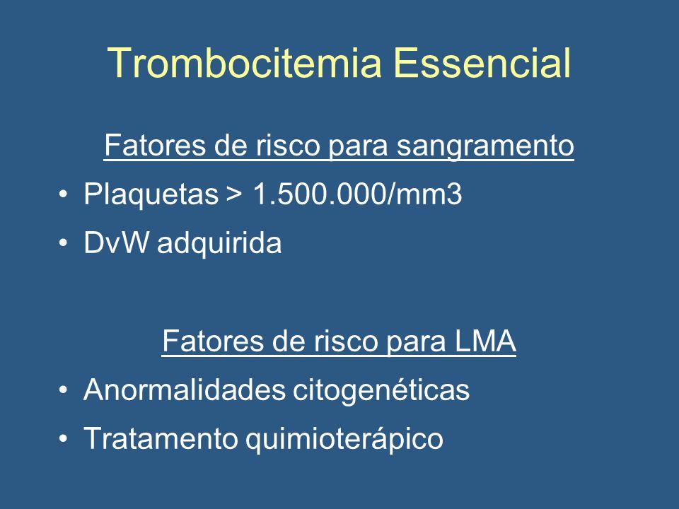 Trombocitemia Essencial Fatores de risco para sangramento Plaquetas > 1.500.000/mm3 DvW adquirida Fatores de risco para LMA Anormalidades citogenéticas Tratamento quimioterápico