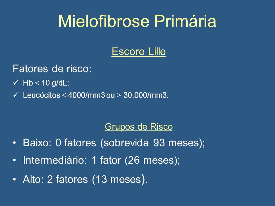 Mielofibrose Primária Escore Lille Fatores de risco: Hb < 10 g/dL; Leucócitos 30.000/mm3.