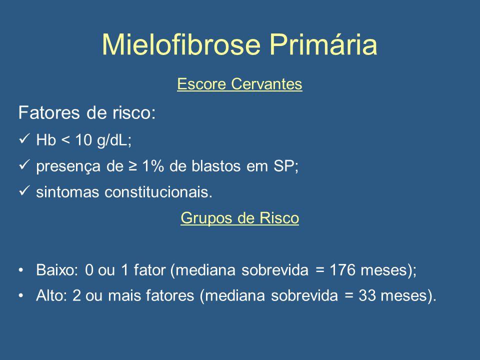 Mielofibrose Primária Escore Cervantes Fatores de risco: Hb < 10 g/dL; presença de ≥ 1% de blastos em SP; sintomas constitucionais.