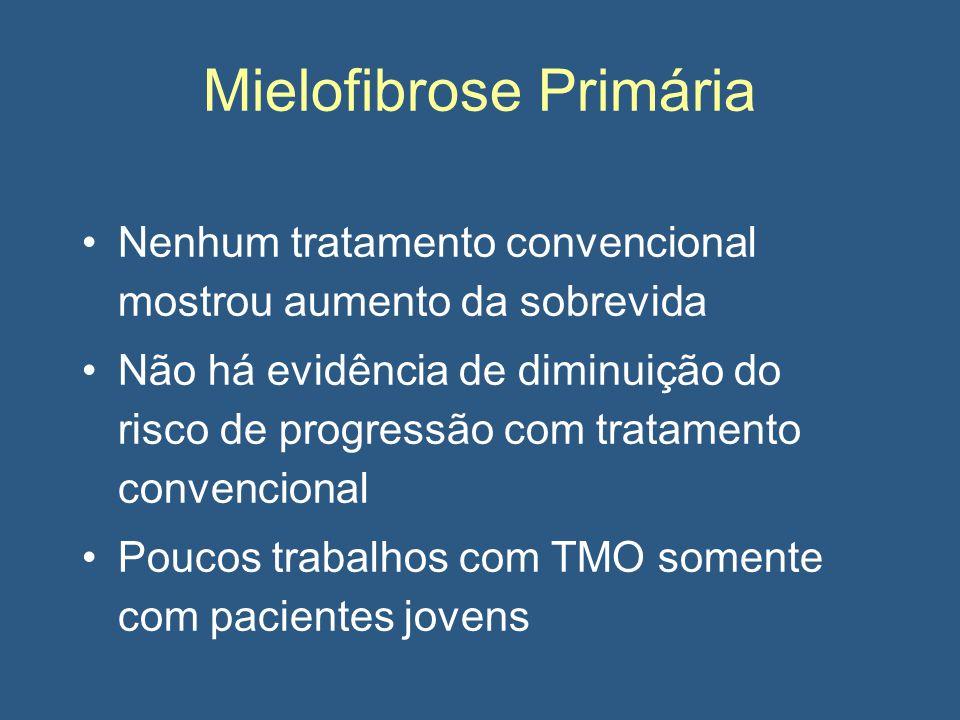 Mielofibrose Primária Nenhum tratamento convencional mostrou aumento da sobrevida Não há evidência de diminuição do risco de progressão com tratamento convencional Poucos trabalhos com TMO somente com pacientes jovens