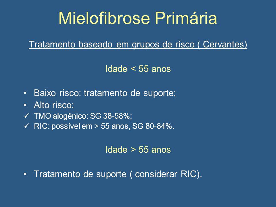 Mielofibrose Primária Tratamento baseado em grupos de risco ( Cervantes) Idade < 55 anos Baixo risco: tratamento de suporte; Alto risco: TMO alogênico: SG 38-58%; RIC: possível em > 55 anos, SG 80-84%.