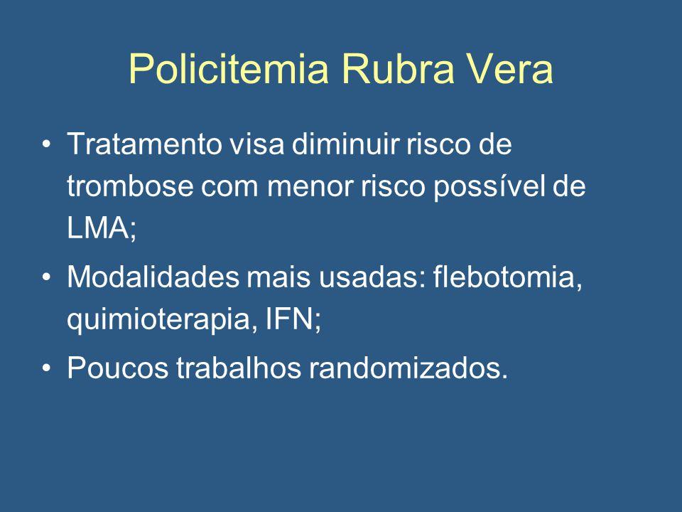 Policitemia Rubra Vera Tratamento visa diminuir risco de trombose com menor risco possível de LMA; Modalidades mais usadas: flebotomia, quimioterapia, IFN; Poucos trabalhos randomizados.