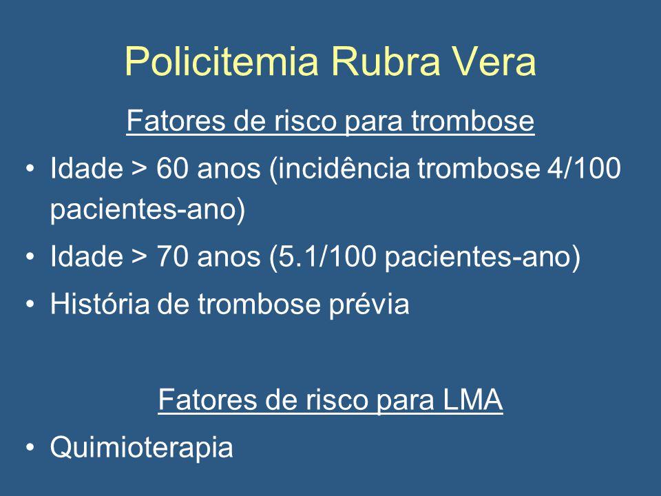 Policitemia Rubra Vera Fatores de risco para trombose Idade > 60 anos (incidência trombose 4/100 pacientes-ano) Idade > 70 anos (5.1/100 pacientes-ano) História de trombose prévia Fatores de risco para LMA Quimioterapia