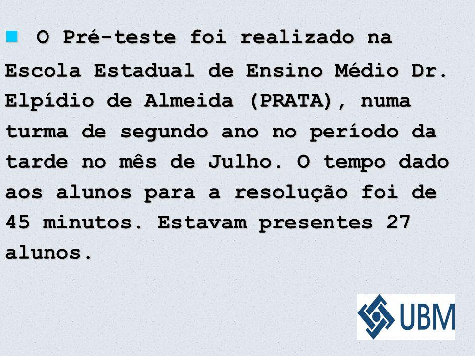 O Pré-teste foi realizado na Escola Estadual de Ensino Médio Dr. Elpídio de Almeida (PRATA), numa turma de segundo ano no período da tarde no mês de J