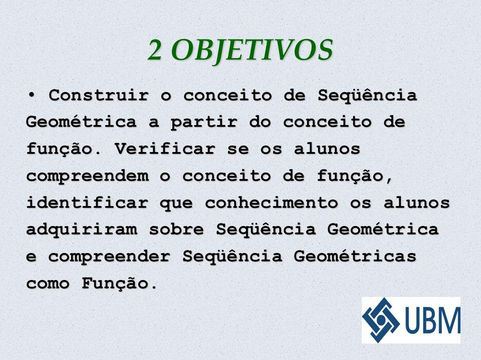 2 OBJETIVOS Construir o conceito de Seqüência Geométrica a partir do conceito de função. Verificar se os alunos compreendem o conceito de função, iden
