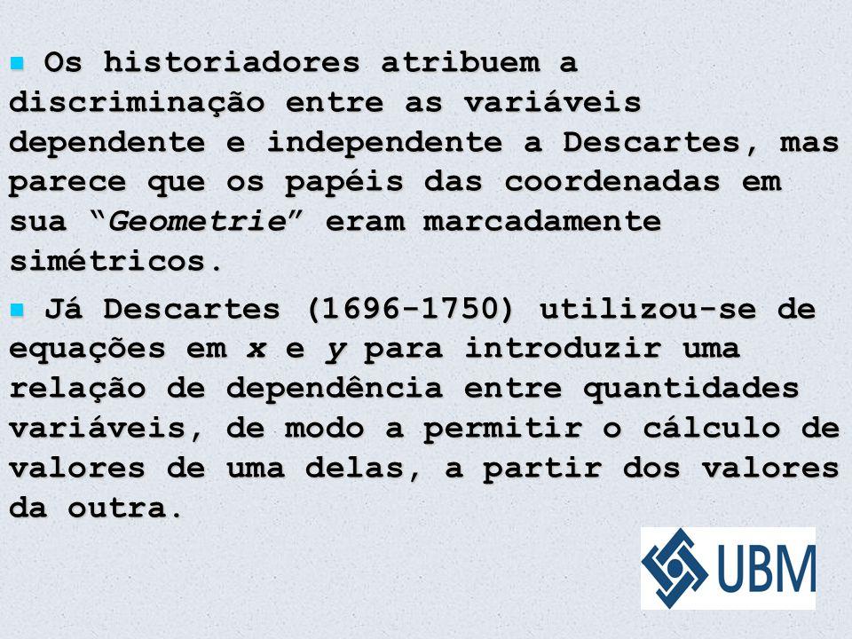 """Os historiadores atribuem a discriminação entre as variáveis dependente e independente a Descartes, mas parece que os papéis das coordenadas em sua """"G"""