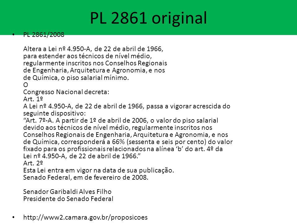 PL 2861 original PL 2861/2008 Altera a Lei nº 4.950-A, de 22 de abril de 1966, para estender aos técnicos de nível médio, regularmente inscritos nos Conselhos Regionais de Engenharia, Arquitetura e Agronomia, e nos de Química, o piso salarial mínimo.
