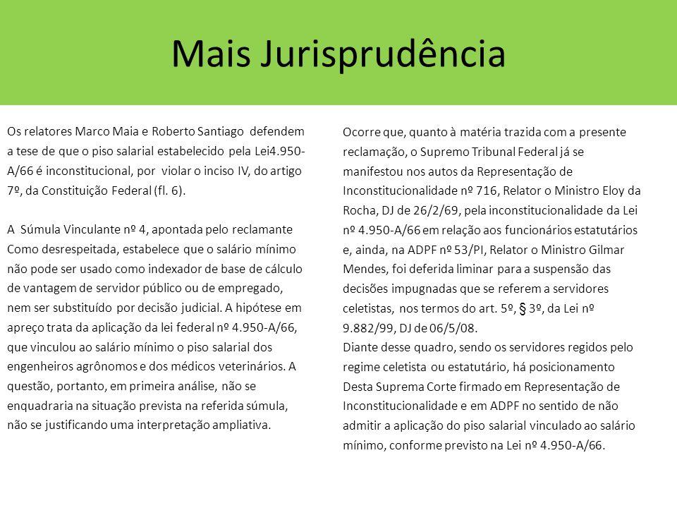 Mais Jurisprudência Os relatores Marco Maia e Roberto Santiago defendem a tese de que o piso salarial estabelecido pela Lei4.950- A/66 é inconstitucio