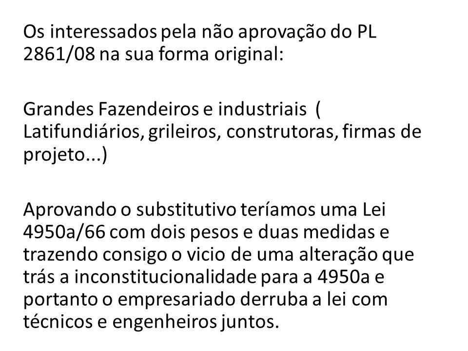 Os interessados pela não aprovação do PL 2861/08 na sua forma original: Grandes Fazendeiros e industriais ( Latifundiários, grileiros, construtoras, f