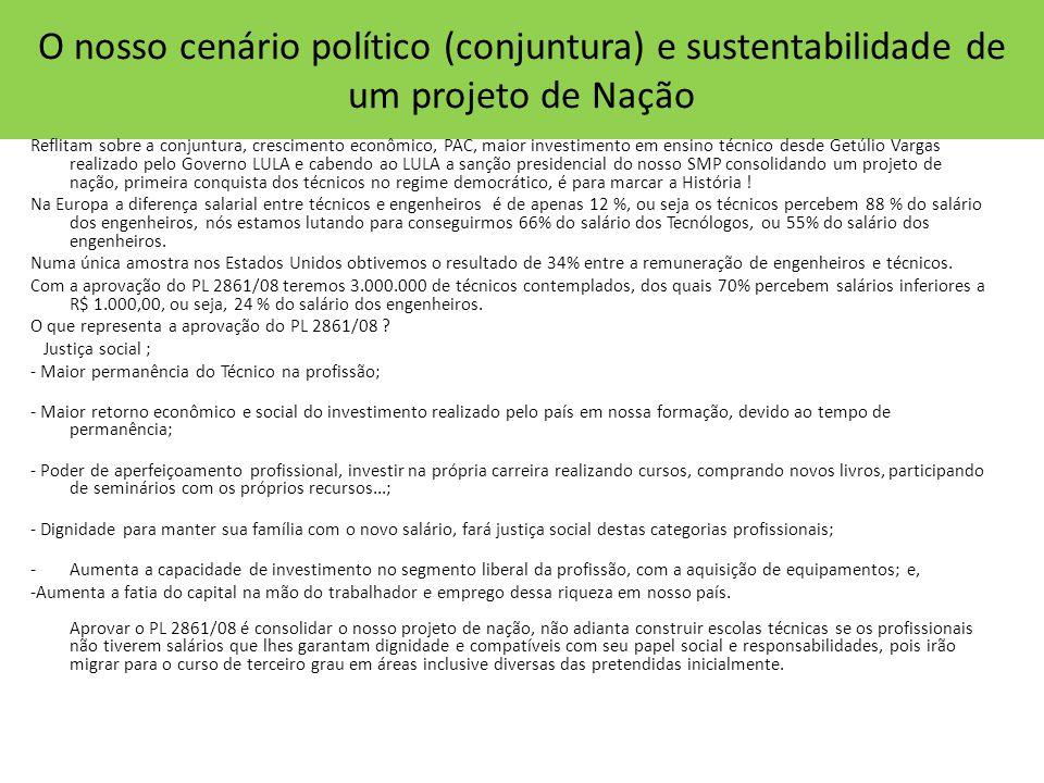 O nosso cenário político (conjuntura) e sustentabilidade de um projeto de Nação Reflitam sobre a conjuntura, crescimento econômico, PAC, maior investi