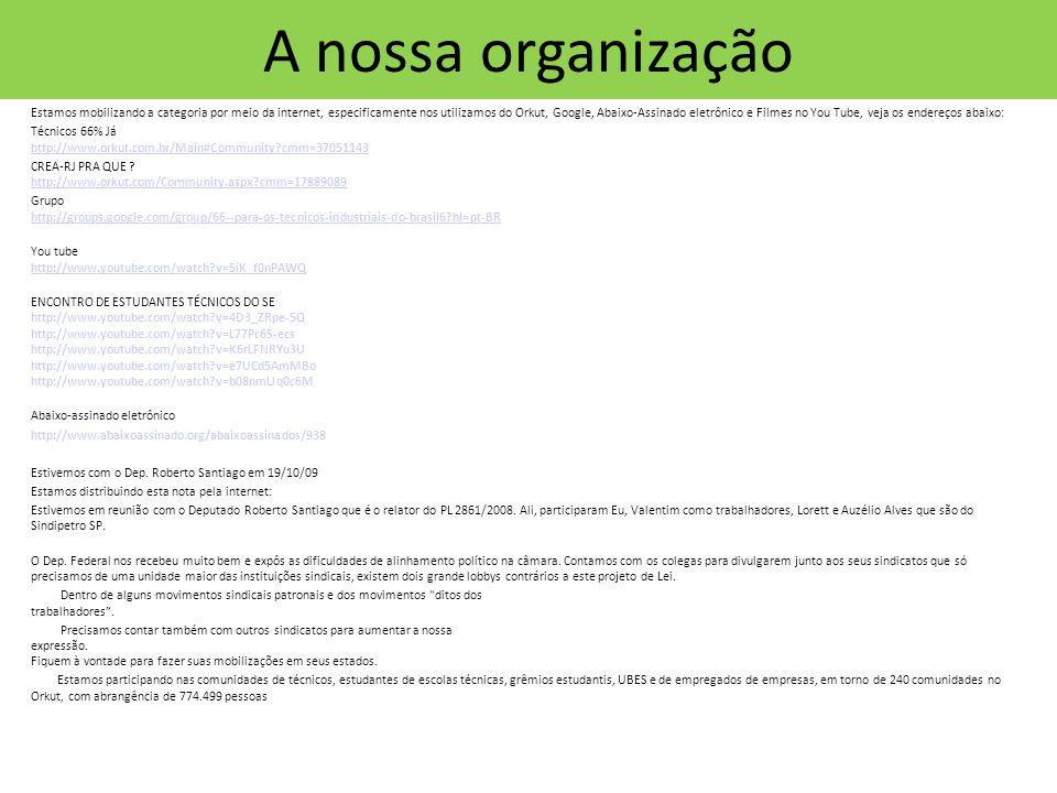 A nossa organização Estamos mobilizando a categoria por meio da internet, especificamente nos utilizamos do Orkut, Google, Abaixo-Assinado eletrônico e Filmes no You Tube, veja os endereços abaixo: Técnicos 66% Já http://www.orkut.com.br/Main#Community cmm=37051143 http://www.orkut.com.br/Main#Community cmm=37051143 CREA-RJ PRA QUE .