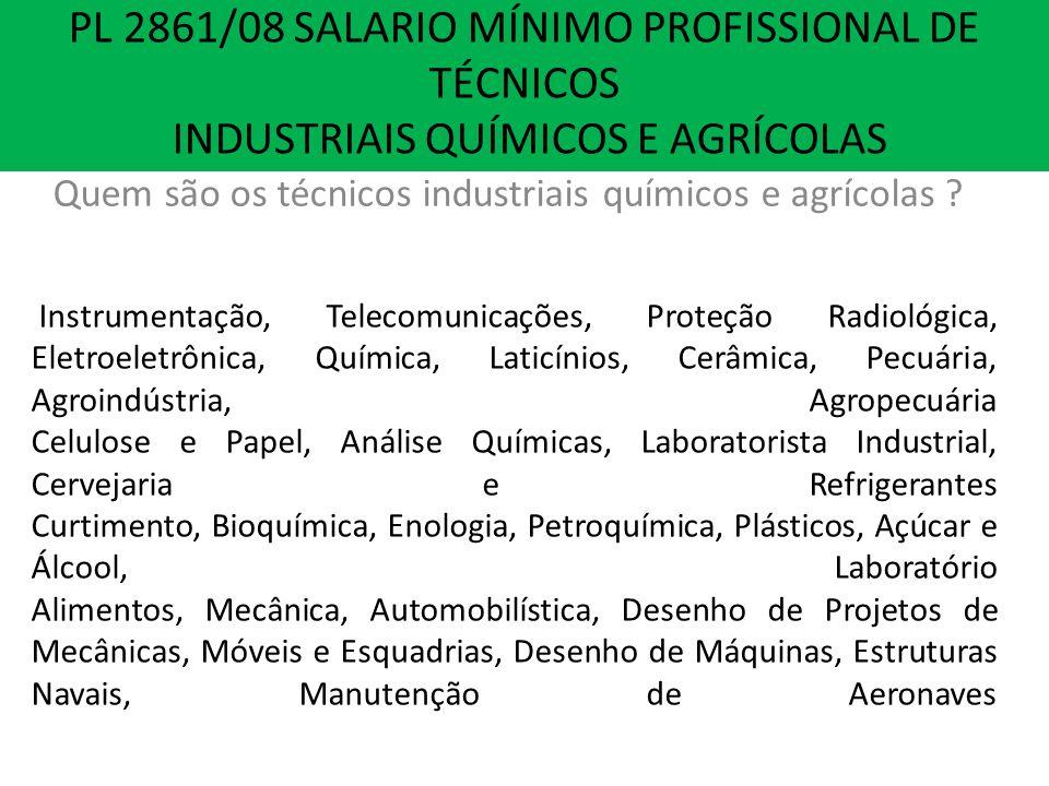 PL 2861/08 SALARIO MINIMO PROFISSIONAL DE TÉCNICOS INDUSTRIAIS E AGRÍCOLAS Instrumentação, Telecomunicações, Proteção Radiológica, Eletroeletrônica, Q