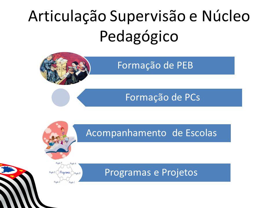 Articulação Supervisão e Núcleo Pedagógico Formação de PEB Formação de PCs Acompanhamento de Escolas Programas e Projetos