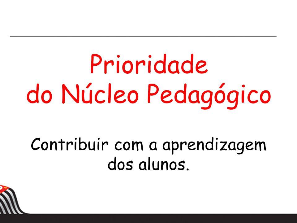 Prioridade do Núcleo Pedagógico Contribuir com a aprendizagem dos alunos.