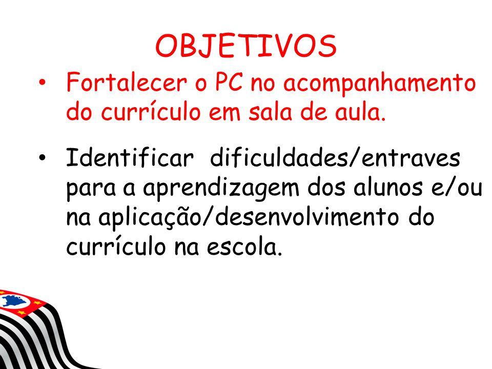 OBJETIVOS Fortalecer o PC no acompanhamento do currículo em sala de aula. Identificar dificuldades/entraves para a aprendizagem dos alunos e/ou na apl