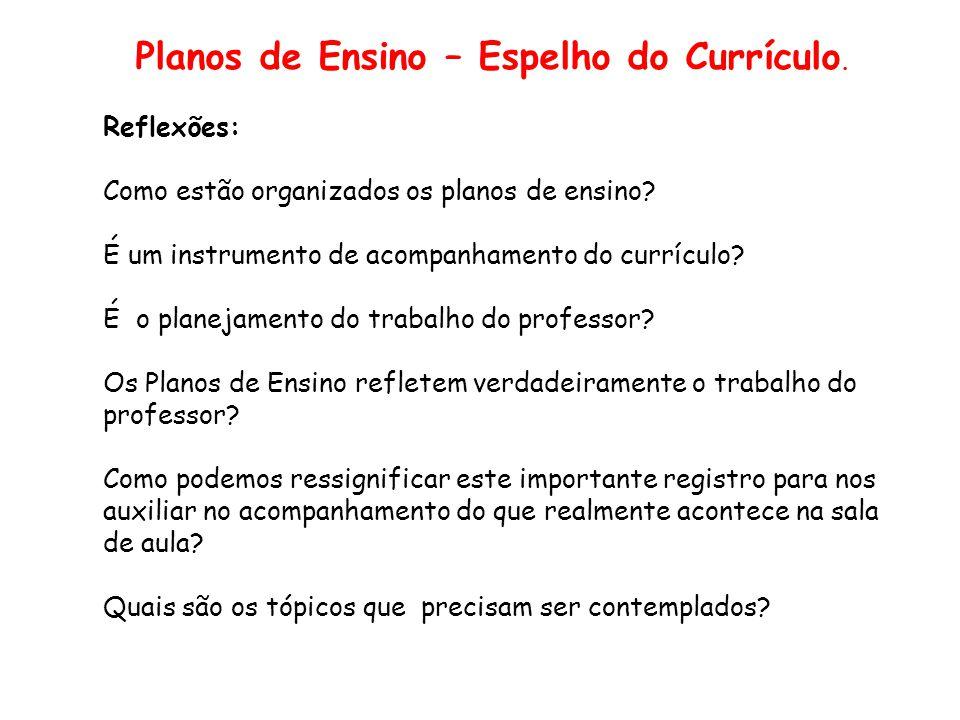 Slide 16 Planos de Ensino – Espelho do Currículo. Reflexões: Como estão organizados os planos de ensino? É um instrumento de acompanhamento do currícu