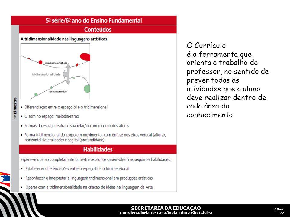 SECRETARIA DA EDUCAÇÃO Coordenadoria de Gestão da Educação Básica Slide 17 O Currículo é a ferramenta que orienta o trabalho do professor, no sentido