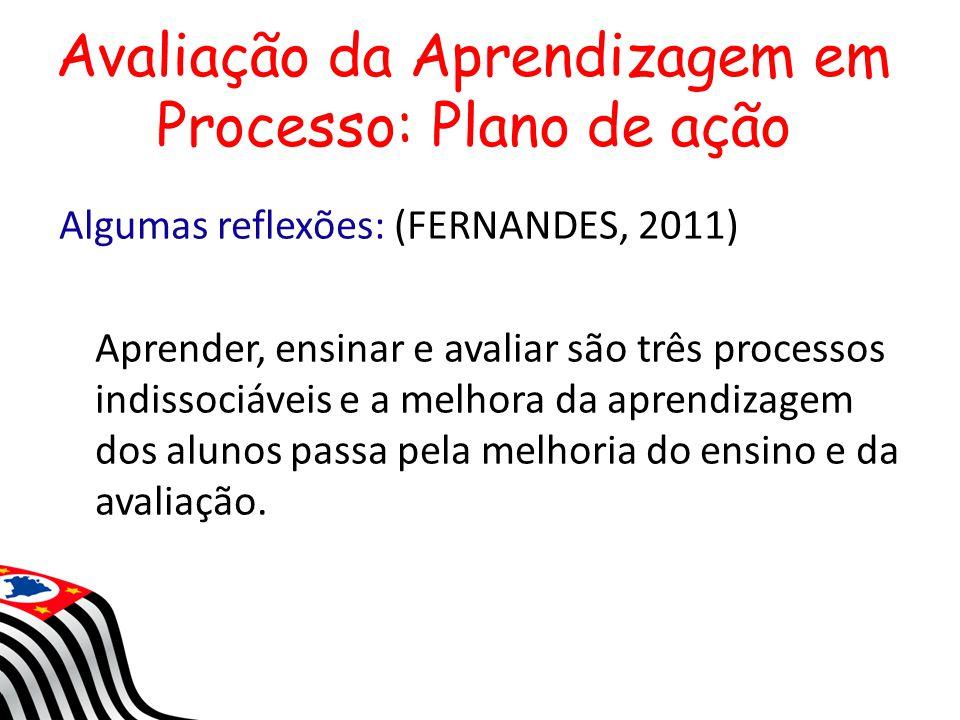 Avaliação da Aprendizagem em Processo: Plano de ação Algumas reflexões: (FERNANDES, 2011) Aprender, ensinar e avaliar são três processos indissociávei