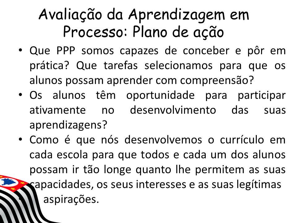Avaliação da Aprendizagem em Processo: Plano de ação Que PPP somos capazes de conceber e pôr em prática? Que tarefas selecionamos para que os alunos p