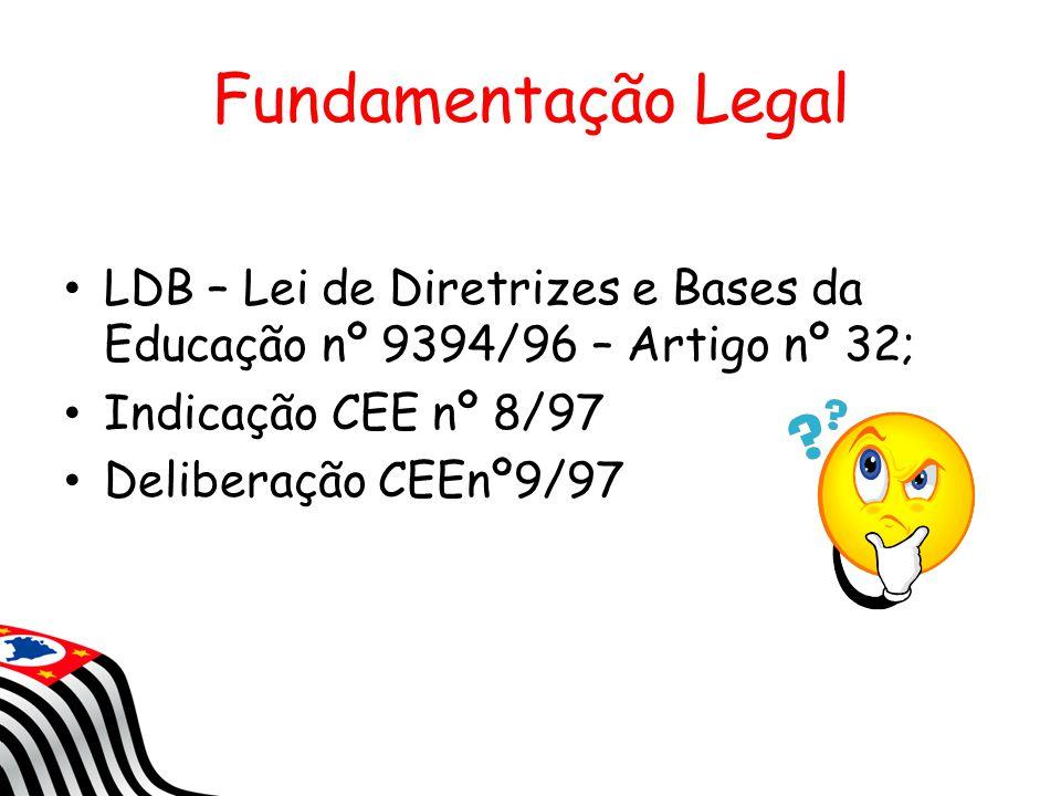 Fundamentação Legal LDB – Lei de Diretrizes e Bases da Educação nº 9394/96 – Artigo nº 32; Indicação CEE nº 8/97 Deliberação CEEnº9/97
