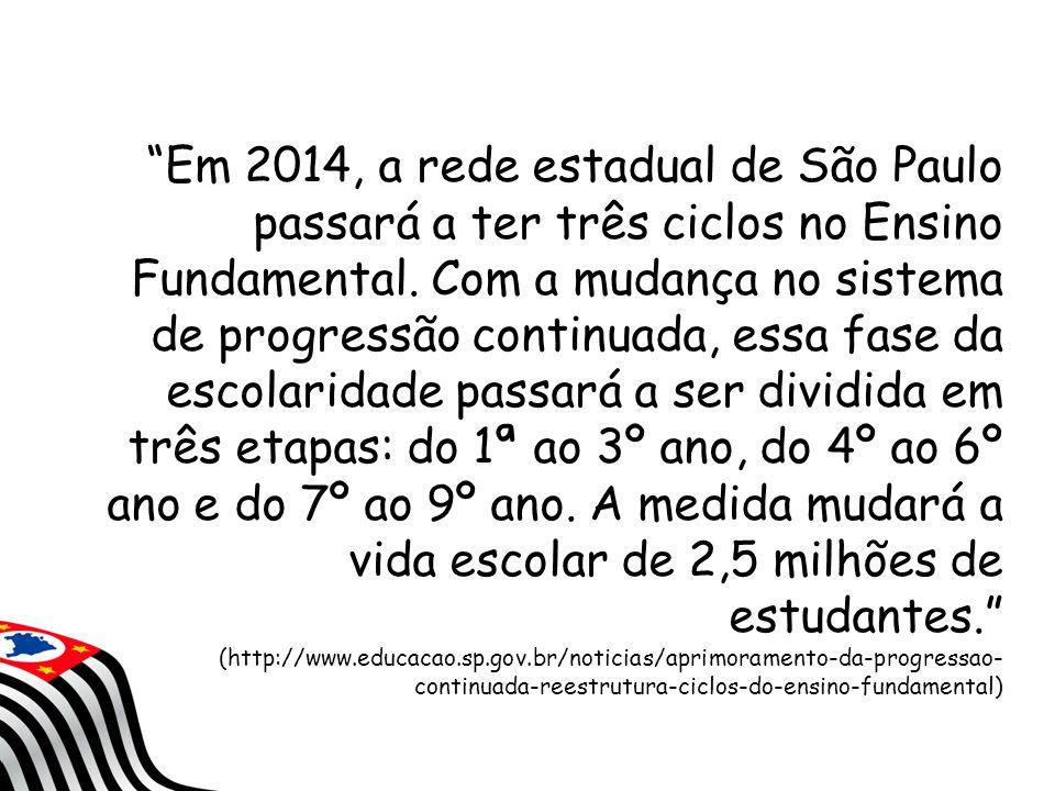 """""""Em 2014, a rede estadual de São Paulo passará a ter três ciclos no Ensino Fundamental. Com a mudança no sistema de progressão continuada, essa fase d"""