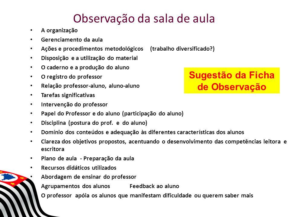 Observação da sala de aula A organização Gerenciamento da aula Ações e procedimentos metodológicos (trabalho diversificado?) Disposição e a utilização