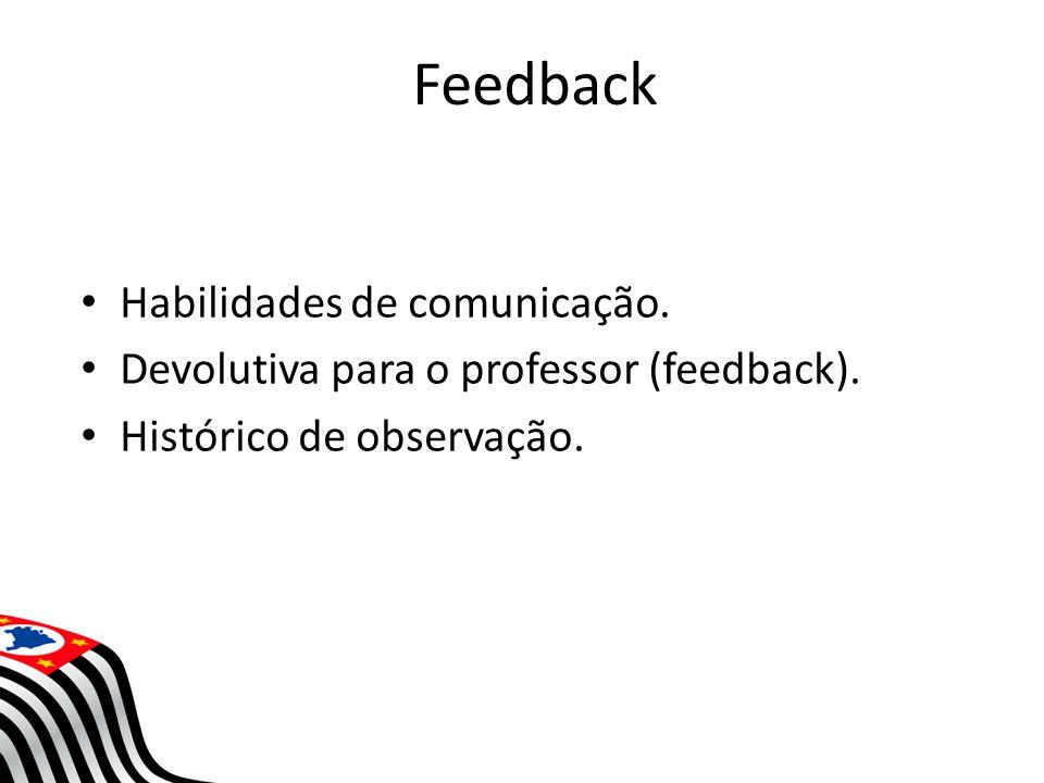 Feedback Habilidades de comunicação. Devolutiva para o professor (feedback). Histórico de observação.
