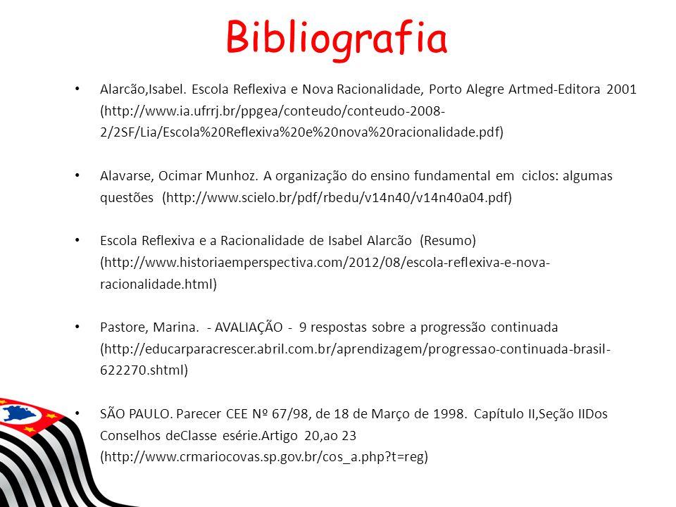 Bibliografia Alarcão,Isabel. Escola Reflexiva e Nova Racionalidade, Porto Alegre Artmed-Editora 2001 (http://www.ia.ufrrj.br/ppgea/conteudo/conteudo-2