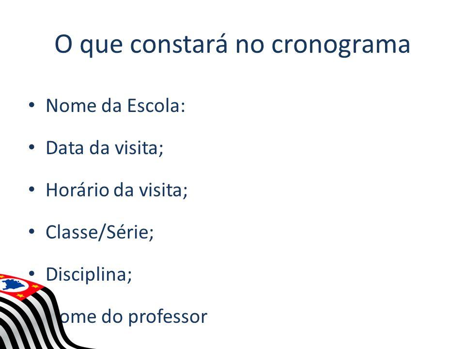 O que constará no cronograma Nome da Escola: Data da visita; Horário da visita; Classe/Série; Disciplina; Nome do professor