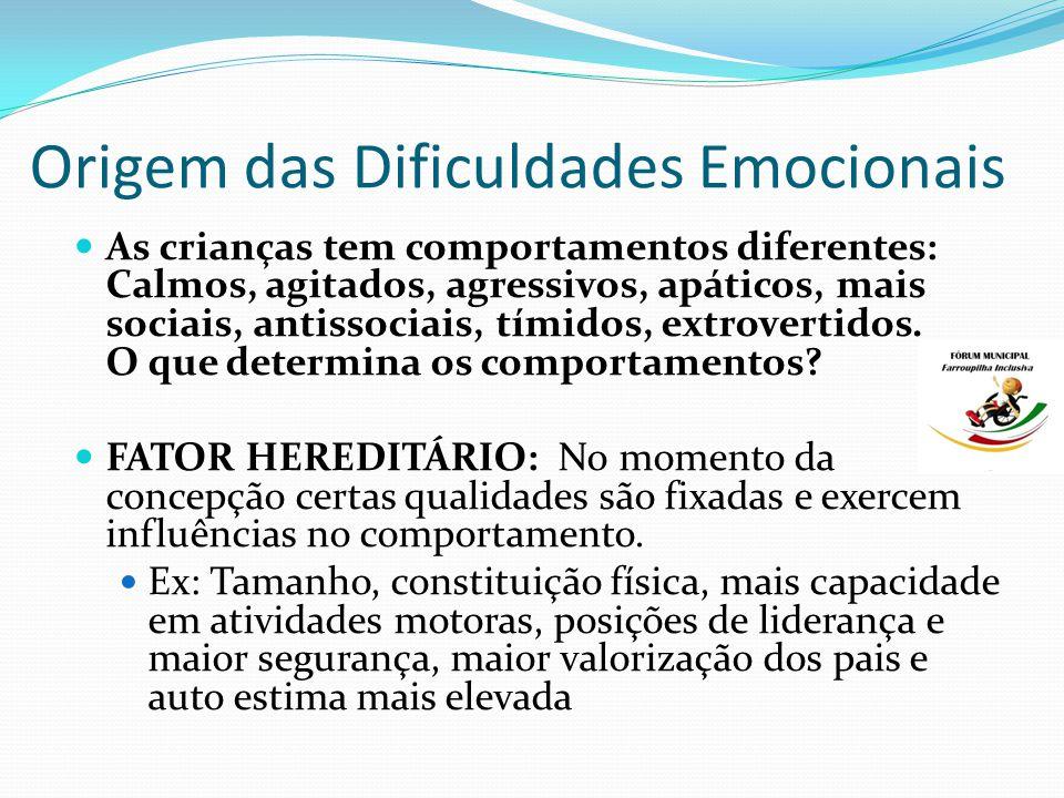 Origem das Dificuldades Emocionais As crianças tem comportamentos diferentes: Calmos, agitados, agressivos, apáticos, mais sociais, antissociais, tímidos, extrovertidos.