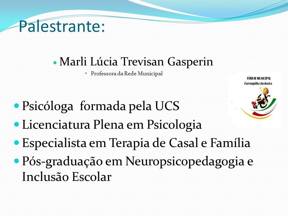 Palestrante: Marli Lúcia Trevisan Gasperin Professora da Rede Municipal Psicóloga formada pela UCS Licenciatura Plena em Psicologia Especialista em Terapia de Casal e Família Pós-graduação em Neuropsicopedagogia e Inclusão Escolar