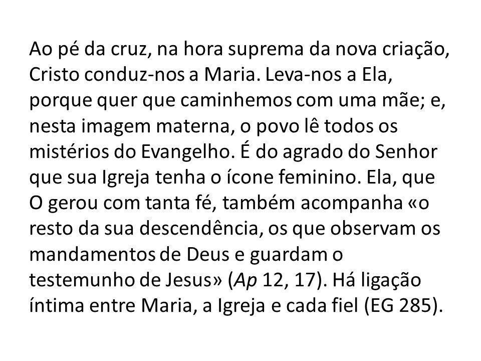 Ao pé da cruz, na hora suprema da nova criação, Cristo conduz-nos a Maria.