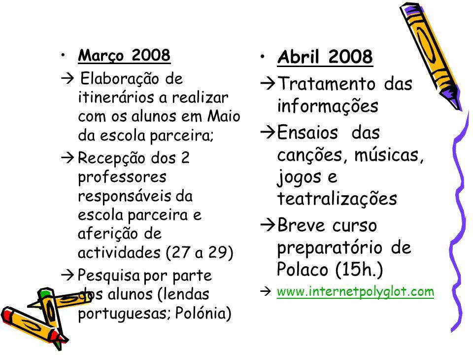 Março 2008  Elaboração de itinerários a realizar com os alunos em Maio da escola parceira;  Recepção dos 2 professores responsáveis da escola parcei