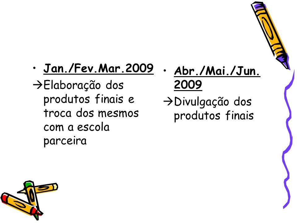 Jan./Fev.Mar.2009  Elaboração dos produtos finais e troca dos mesmos com a escola parceira Abr./Mai./Jun. 2009  Divulgação dos produtos finais